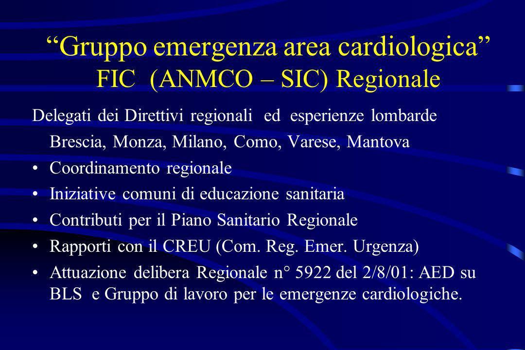 Gruppo emergenza area cardiologica FIC (ANMCO – SIC) Regionale