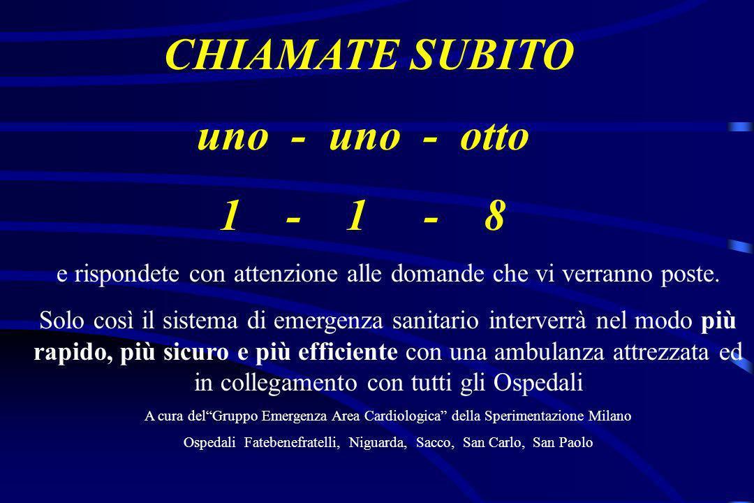 CHIAMATE SUBITO uno - uno - otto 1 - 1 - 8