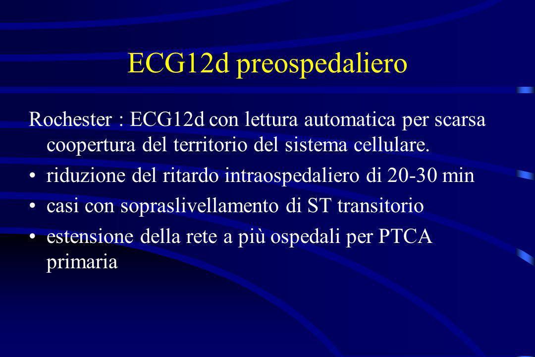 ECG12d preospedaliero Rochester : ECG12d con lettura automatica per scarsa coopertura del territorio del sistema cellulare.