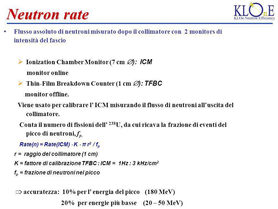 Neutron rate Flusso assoluto di neutroni misurato dopo il collimatore con 2 monitors di intensità del fascio.