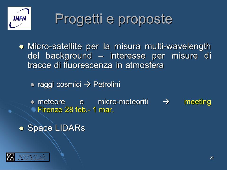 Progetti e proposte Micro-satellite per la misura multi-wavelength del background – interesse per misure di tracce di fluorescenza in atmosfera.