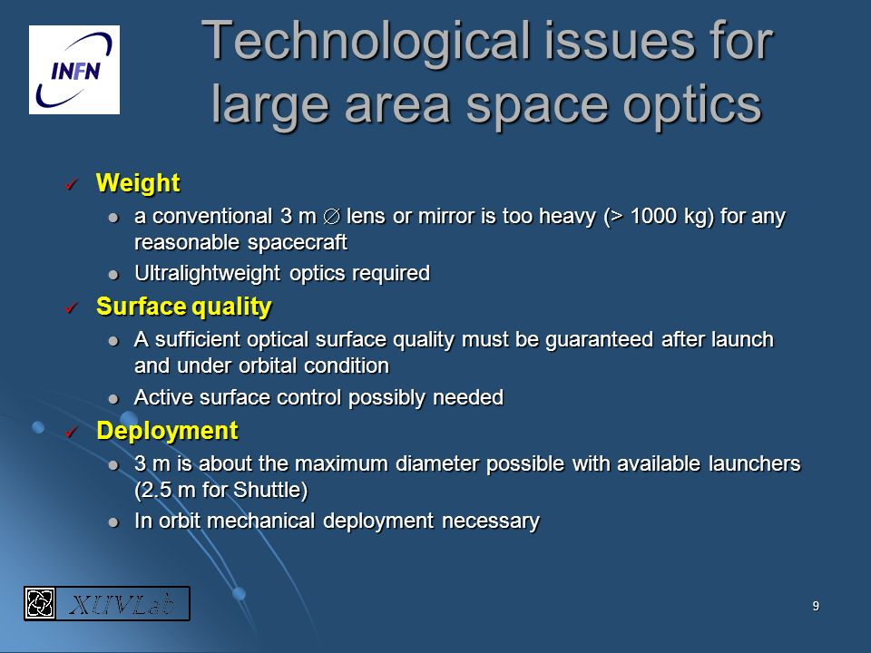 Technological issues for large area space optics
