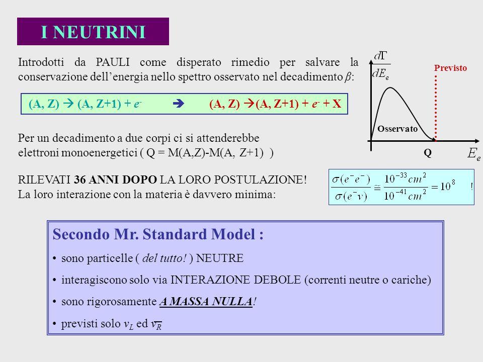 I NEUTRINI Secondo Mr. Standard Model :