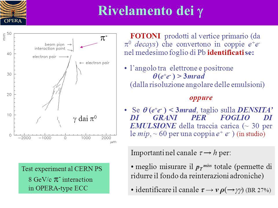 Rivelamento dei g - FOTONI prodotti al vertice primario (da p0 decays) che convertono in coppie e+e- nel medesimo foglio di Pb identificati se: