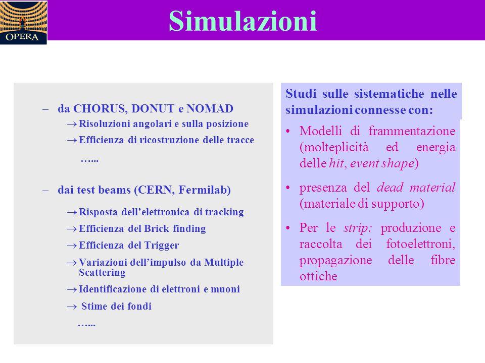 Simulazioni Studi sulle sistematiche nelle simulazioni connesse con: