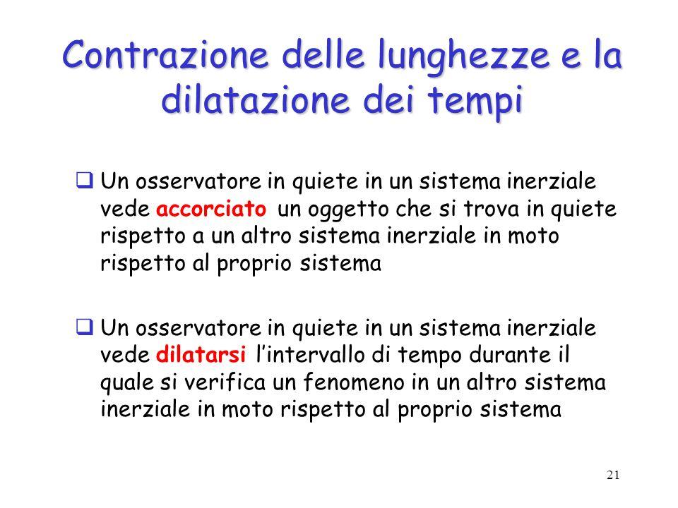 Contrazione delle lunghezze e la dilatazione dei tempi