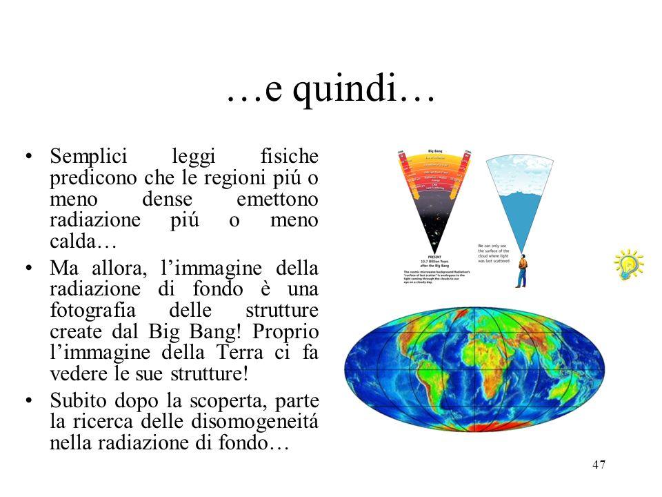 …e quindi… Semplici leggi fisiche predicono che le regioni piú o meno dense emettono radiazione piú o meno calda…