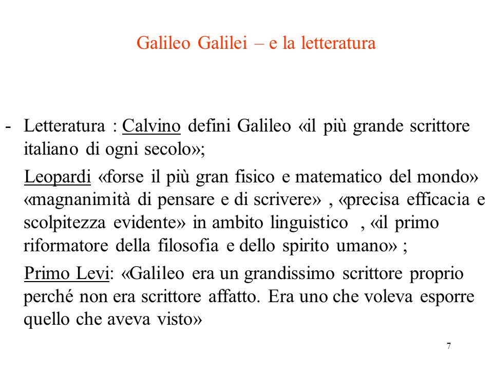 Galileo Galilei – e la letteratura