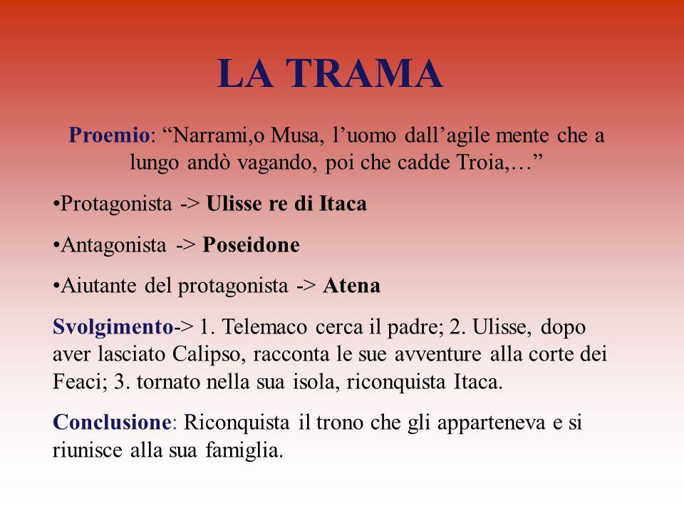 LA TRAMA Proemio: Narrami,o Musa, l'uomo dall'agile mente che a lungo andò vagando, poi che cadde Troia,…