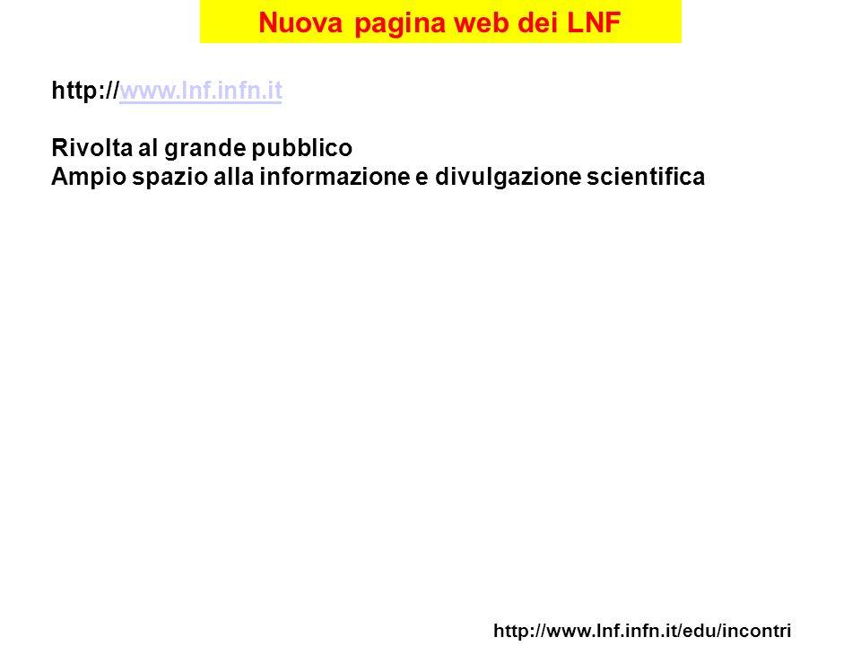Nuova pagina web dei LNF