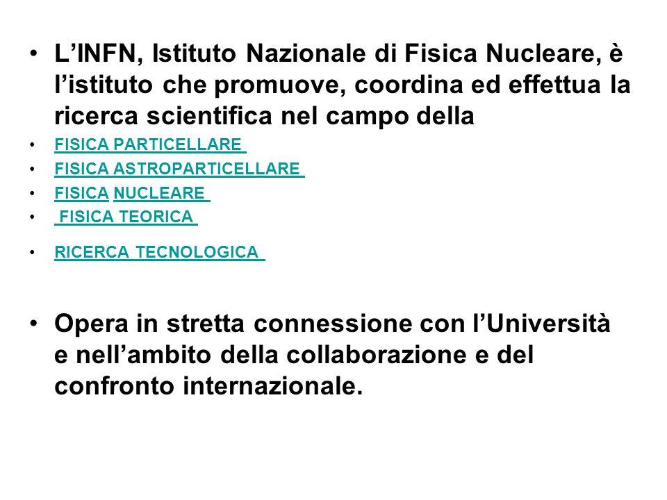 L'INFN, Istituto Nazionale di Fisica Nucleare, è l'istituto che promuove, coordina ed effettua la ricerca scientifica nel campo della