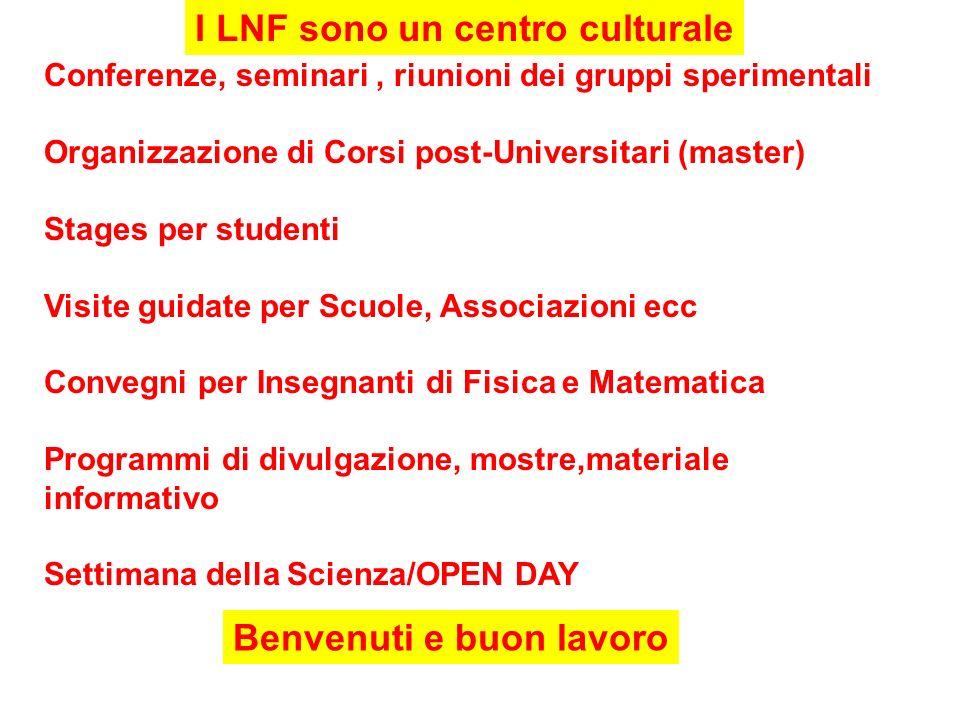 I LNF sono un centro culturale Benvenuti e buon lavoro