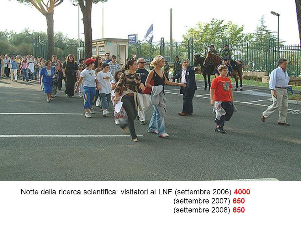 Notte della ricerca scientifica: visitatori ai LNF (settembre 2006) 4000