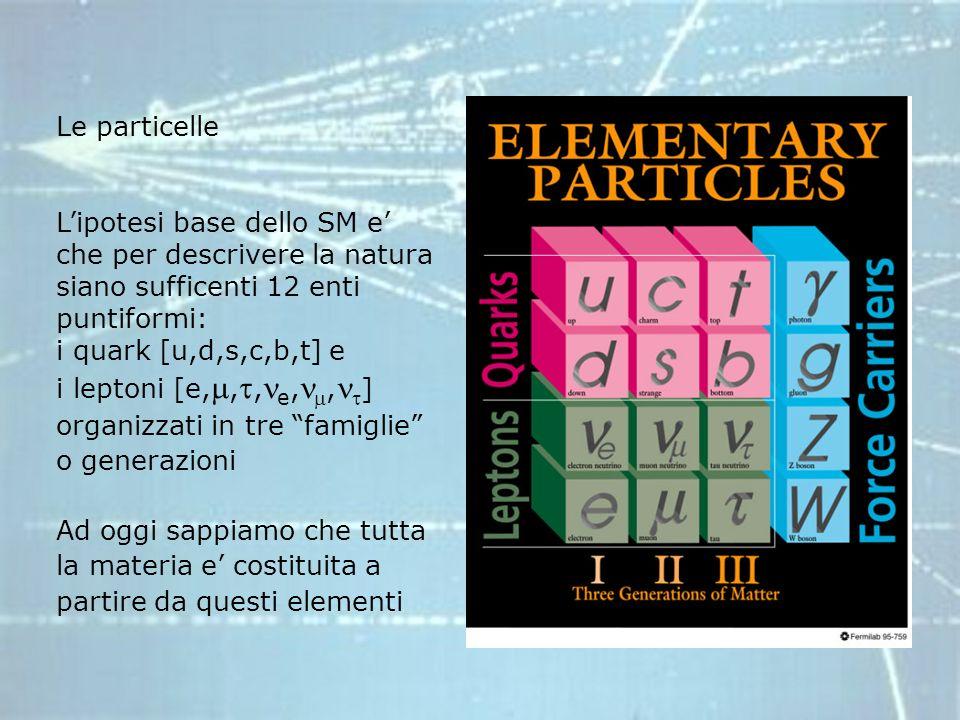 Le particelle L'ipotesi base dello SM e' che per descrivere la natura siano sufficenti 12 enti puntiformi: