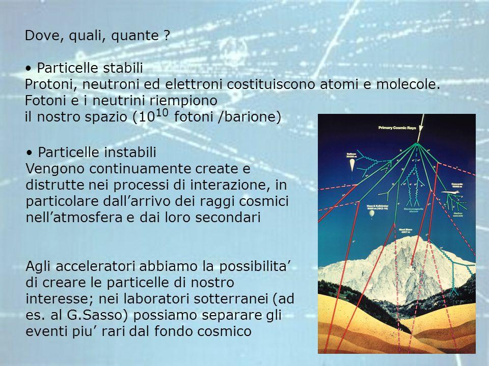 Dove, quali, quante Particelle stabili. Protoni, neutroni ed elettroni costituiscono atomi e molecole. Fotoni e i neutrini riempiono.