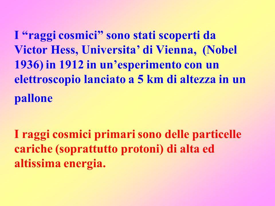 I raggi cosmici sono stati scoperti da Victor Hess, Universita' di Vienna, (Nobel 1936) in 1912 in un'esperimento con un elettroscopio lanciato a 5 km di altezza in un pallone I raggi cosmici primari sono delle particelle cariche (soprattutto protoni) di alta ed altissima energia.