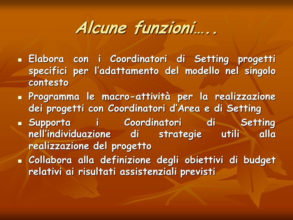 Alcune funzioni….. Elabora con i Coordinatori di Setting progetti specifici per l'adattamento del modello nel singolo contesto.