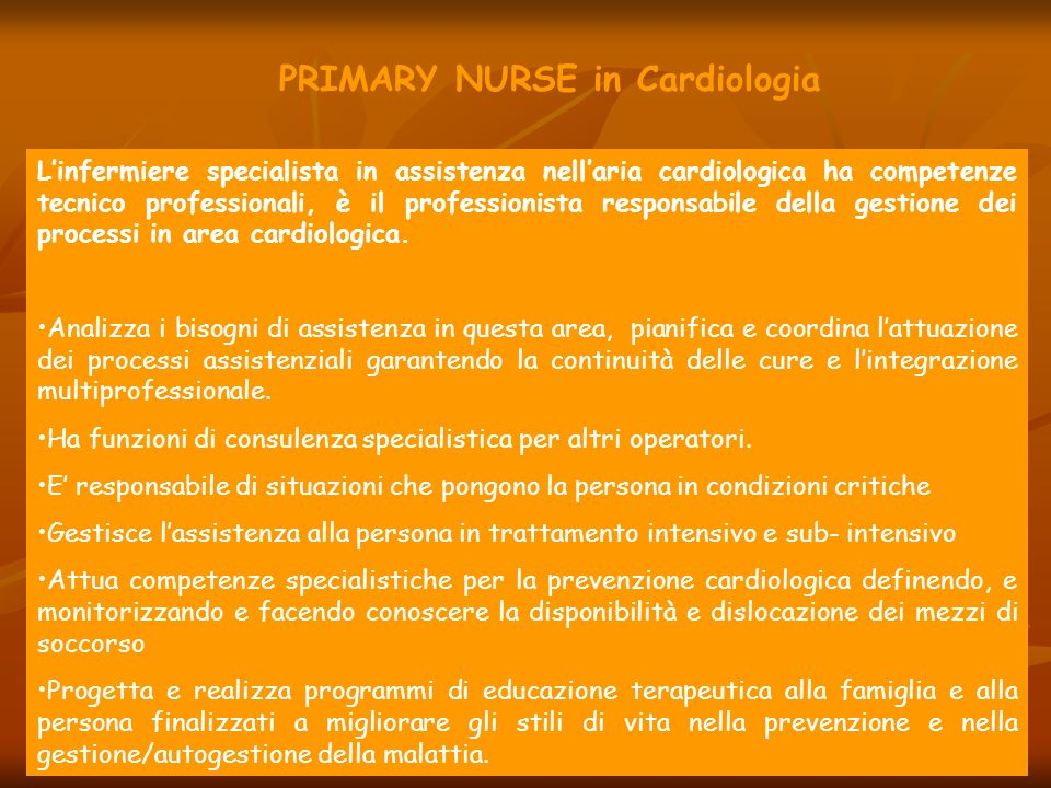 PRIMARY NURSE in Cardiologia
