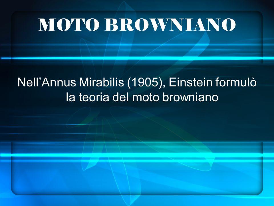 MOTO BROWNIANO Nell'Annus Mirabilis (1905), Einstein formulò la teoria del moto browniano