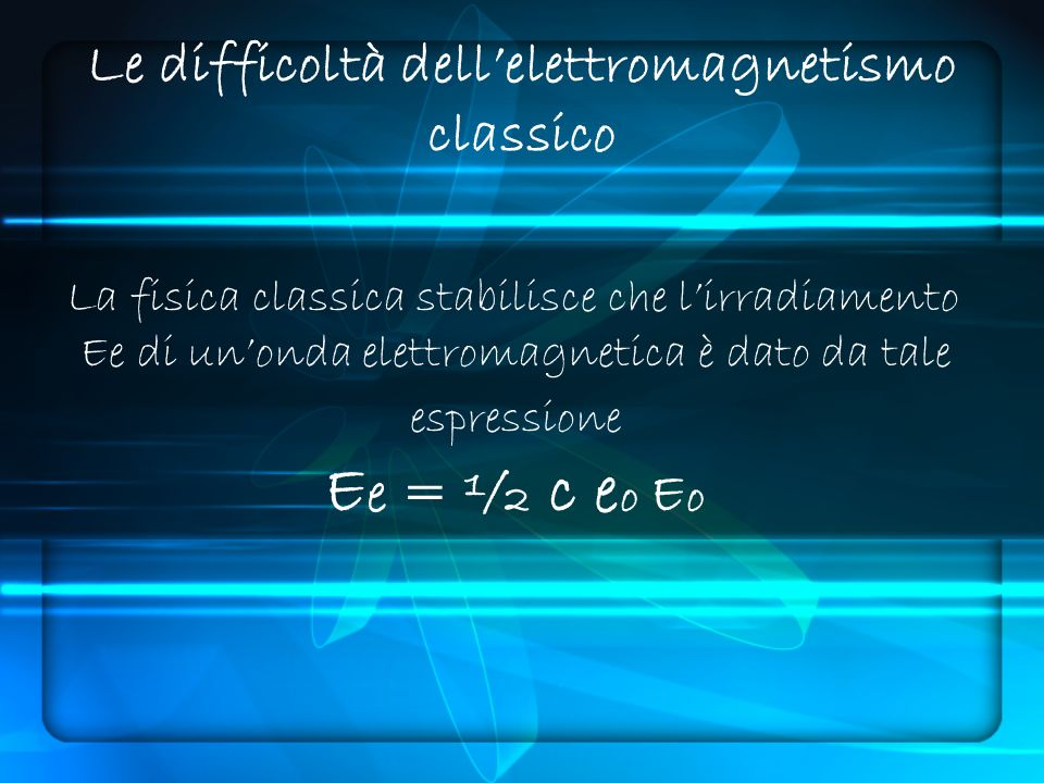 Le difficoltà dell'elettromagnetismo classico