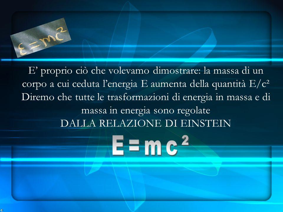 E' proprio ciò che volevamo dimostrare: la massa di un corpo a cui ceduta l'energia E aumenta della quantità E/c² Diremo che tutte le trasformazioni di energia in massa e di massa in energia sono regolate DALLA RELAZIONE DI EINSTEIN