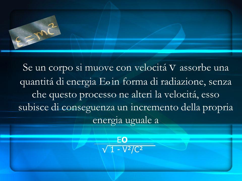 Se un corpo si muove con velocitá v assorbe una quantitá di energia EO in forma di radiazione, senza che questo processo ne alteri la velocitá, esso subisce di conseguenza un incremento della propria energia uguale a
