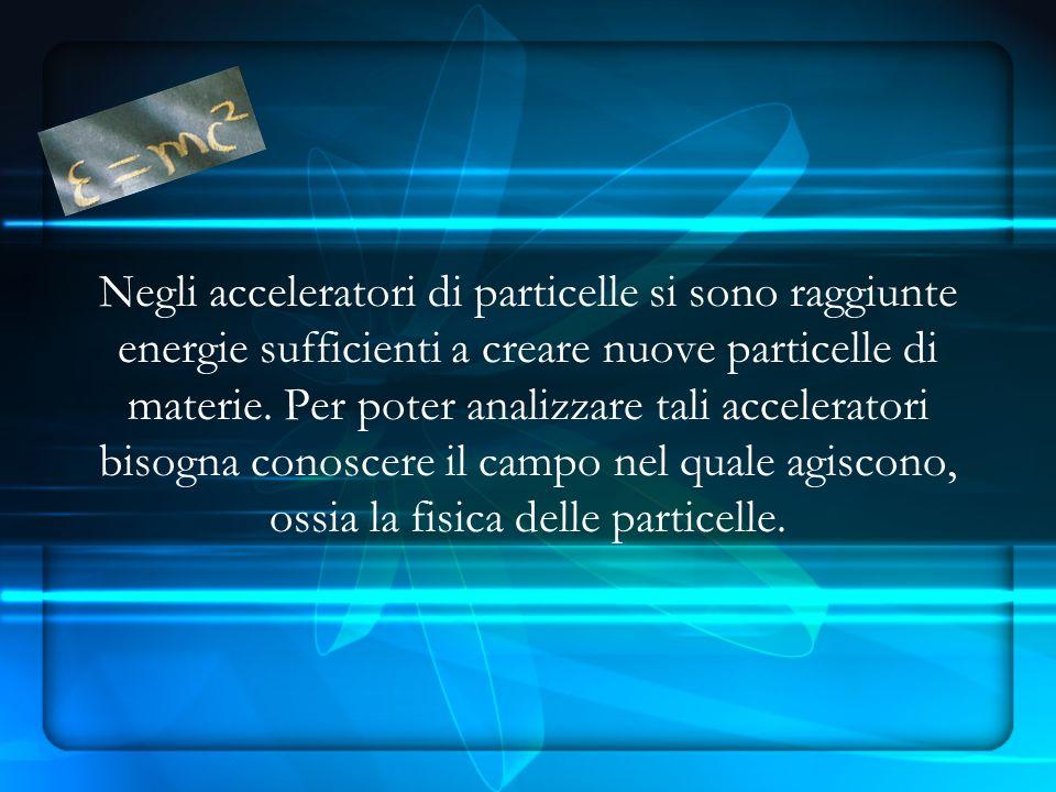 Negli acceleratori di particelle si sono raggiunte energie sufficienti a creare nuove particelle di materie.
