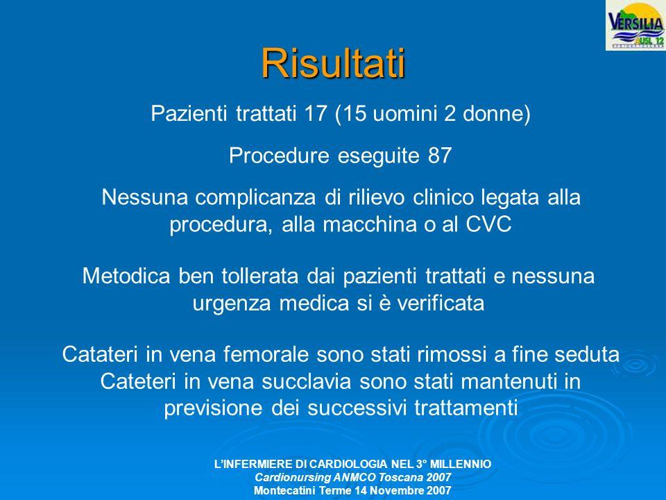 Risultati Pazienti trattati 17 (15 uomini 2 donne)
