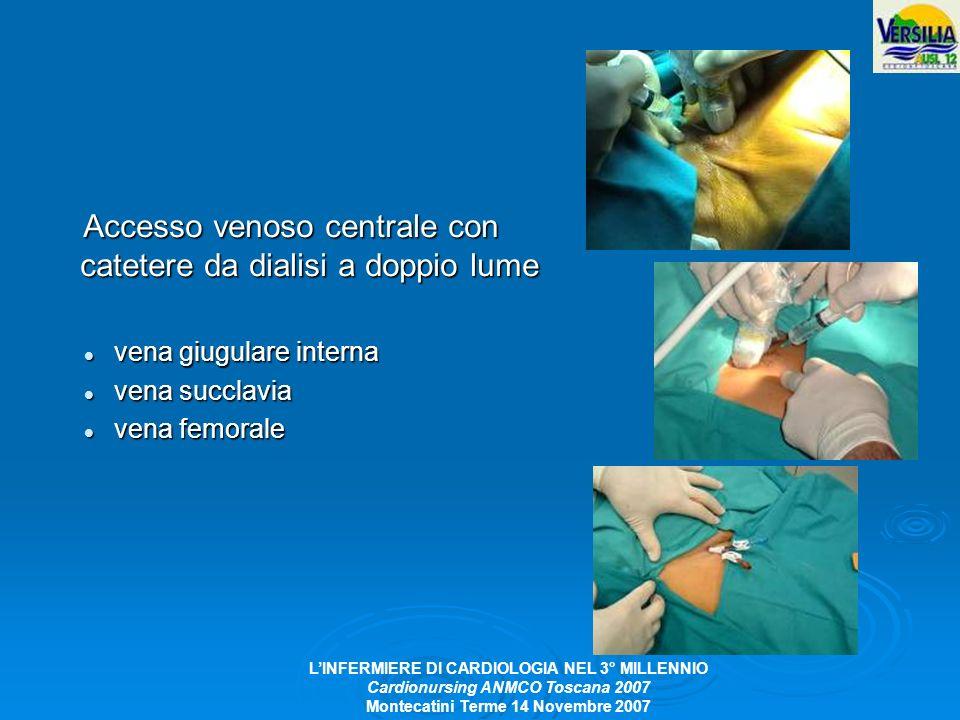 Accesso venoso centrale con catetere da dialisi a doppio lume