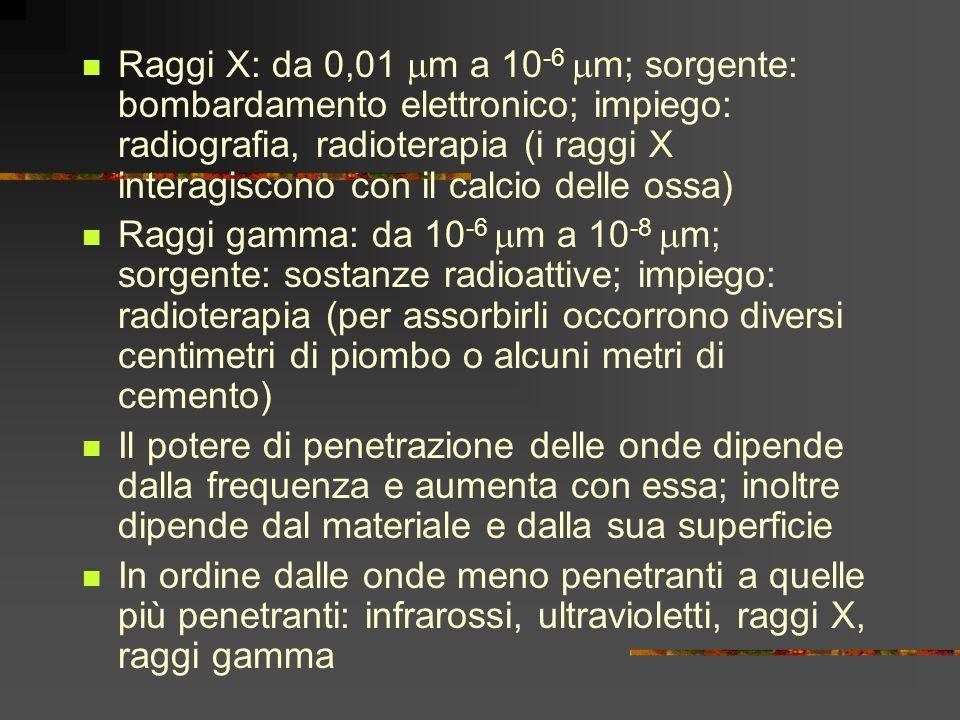 Raggi X: da 0,01 m a 10-6 m; sorgente: bombardamento elettronico; impiego: radiografia, radioterapia (i raggi X interagiscono con il calcio delle ossa)