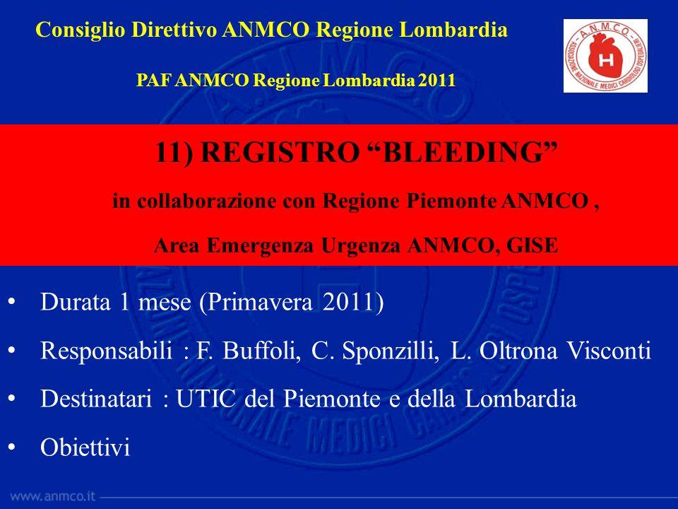 11) REGISTRO BLEEDING Durata 1 mese (Primavera 2011)