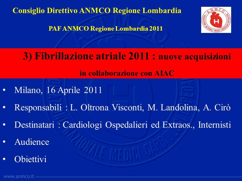 3) Fibrillazione atriale 2011 : nuove acquisizioni