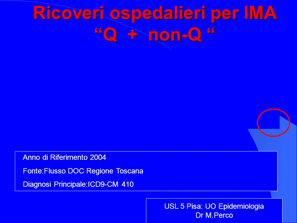 Ricoveri ospedalieri per IMA Q + non-Q