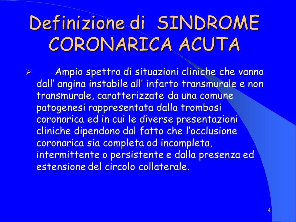 Definizione di SINDROME CORONARICA ACUTA