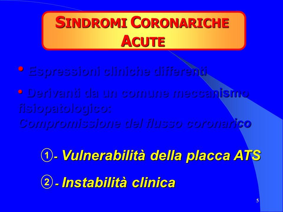 SINDROMI CORONARICHE ACUTE Espressioni cliniche differenti