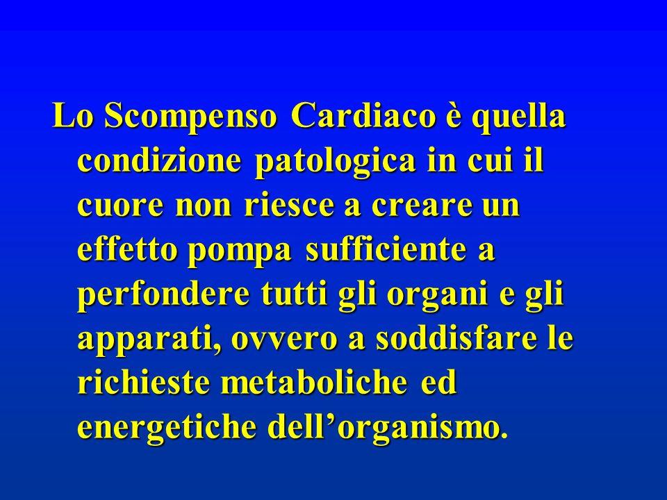 Lo Scompenso Cardiaco è quella condizione patologica in cui il cuore non riesce a creare un effetto pompa sufficiente a perfondere tutti gli organi e gli apparati, ovvero a soddisfare le richieste metaboliche ed energetiche dell'organismo.