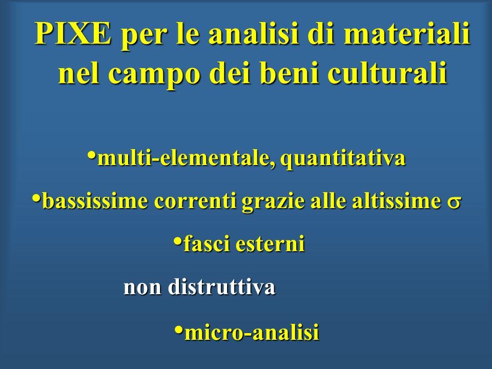 PIXE per le analisi di materiali nel campo dei beni culturali