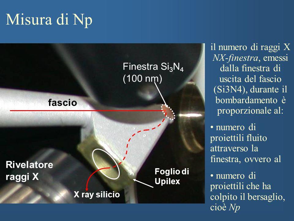 Misura di Np il numero di raggi X NX-finestra, emessi dalla finestra di uscita del fascio (Si3N4), durante il bombardamento è proporzionale al: