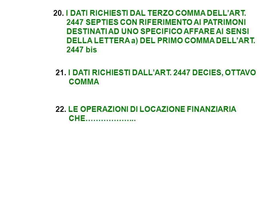 20. I DATI RICHIESTI DAL TERZO COMMA DELL'ART