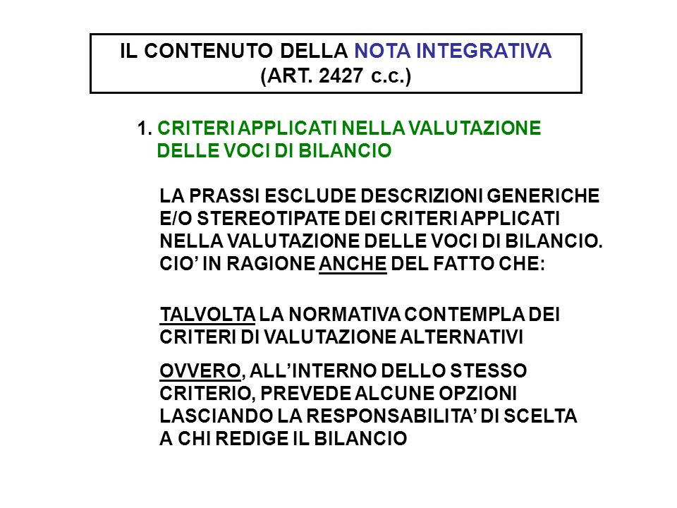 IL CONTENUTO DELLA NOTA INTEGRATIVA (ART. 2427 c.c.)