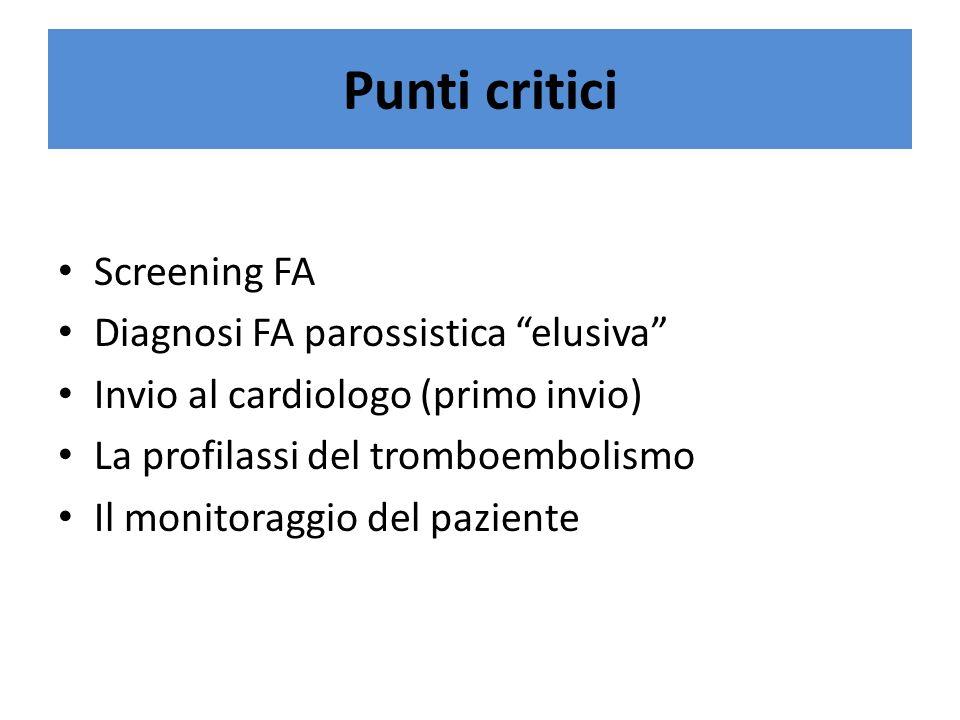 Punti critici Screening FA Diagnosi FA parossistica elusiva