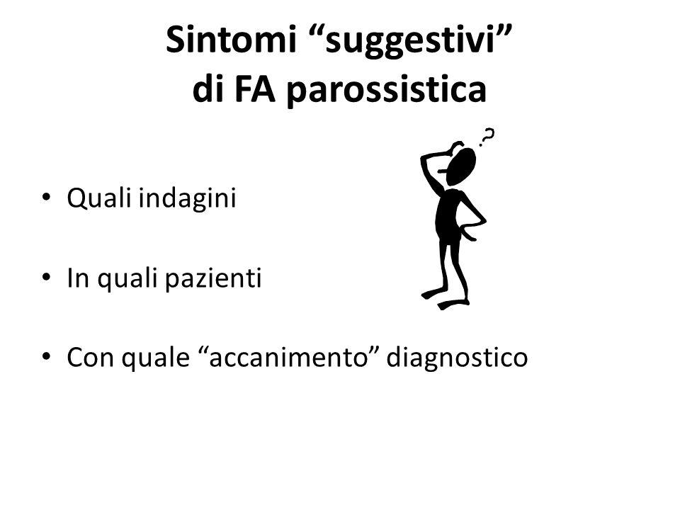 Sintomi suggestivi di FA parossistica