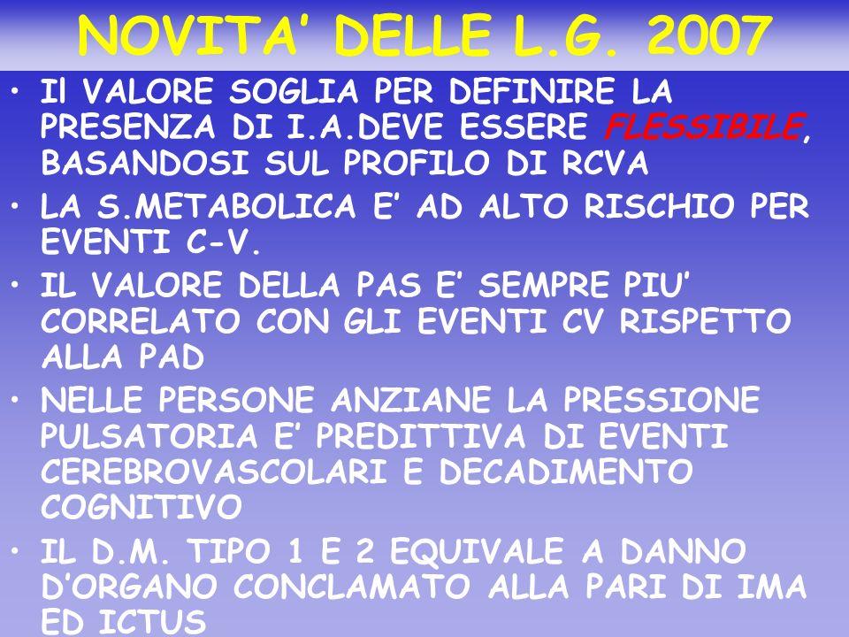 NOVITA' DELLE L.G. 2007 Il VALORE SOGLIA PER DEFINIRE LA PRESENZA DI I.A.DEVE ESSERE FLESSIBILE, BASANDOSI SUL PROFILO DI RCVA.