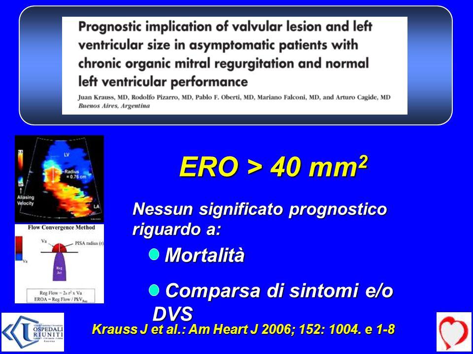 ERO > 40 mm2 Mortalità Comparsa di sintomi e/o DVS
