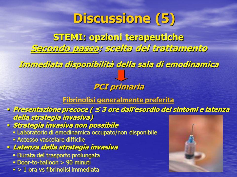 Discussione (5) STEMI: opzioni terapeutiche Secondo passo: scelta del trattamento. Immediata disponibilità della sala di emodinamica.