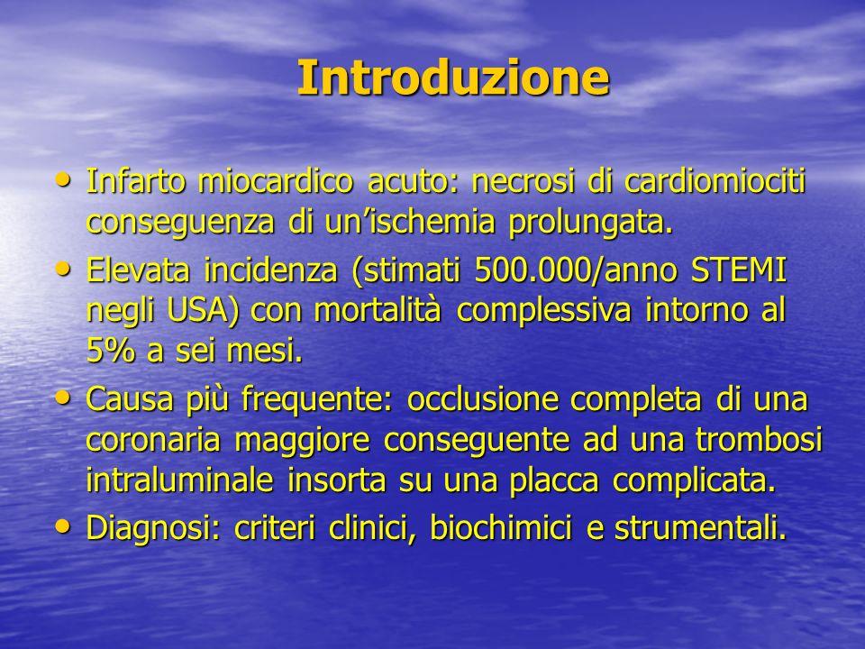 Introduzione Infarto miocardico acuto: necrosi di cardiomiociti conseguenza di un'ischemia prolungata.