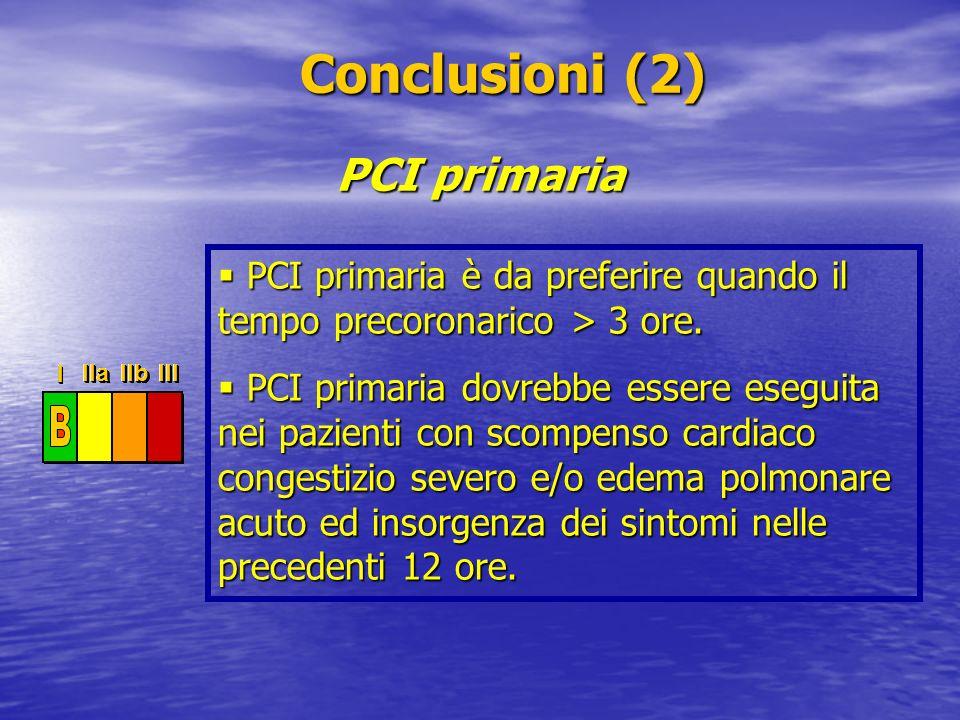 Conclusioni (2) PCI primaria