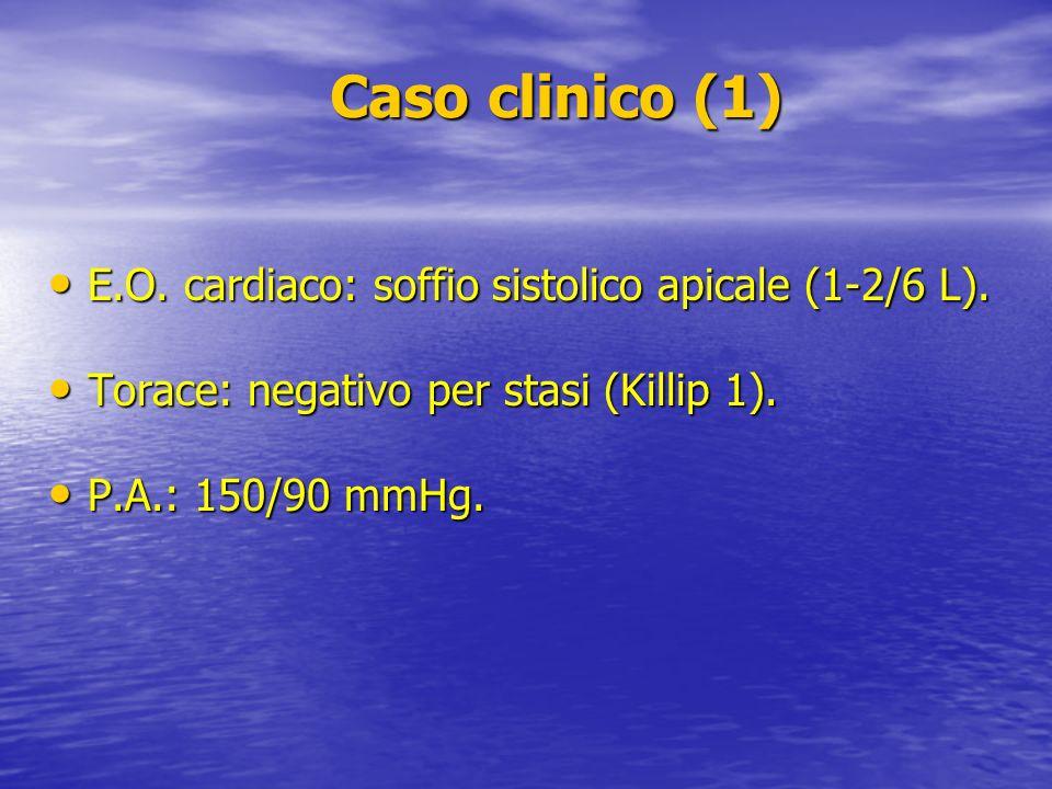 Caso clinico (1) E.O. cardiaco: soffio sistolico apicale (1-2/6 L).