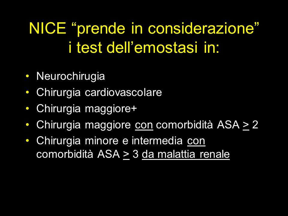 NICE prende in considerazione i test dell'emostasi in: