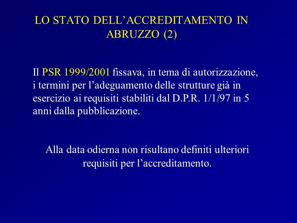 LO STATO DELL'ACCREDITAMENTO IN ABRUZZO (2)